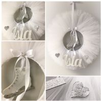 White Tulle Ice Skating Personalised Wreath Bedroom Wall Decor Door Name Sign